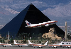 The airport in Vegas - with a nice view of the Luxor hotel and casino.